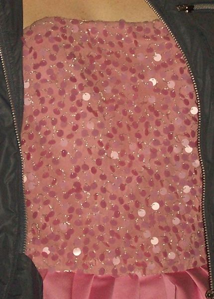 Cropped photo of the front of the dress, focusing on the sequins.