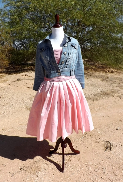 Dress with the cropped jacket over it.